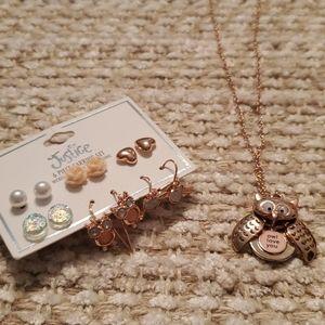 Justice owl locket and 6 pair of earrings.